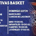 20.08.2021 Actividad para este fin de semana en las formativas de Básquetbol del club Juventud