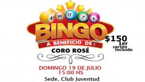 afiche bingo beneficio coro rose